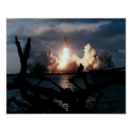 Launch of Space Shuttle Atlantis (STS-74) Poster
