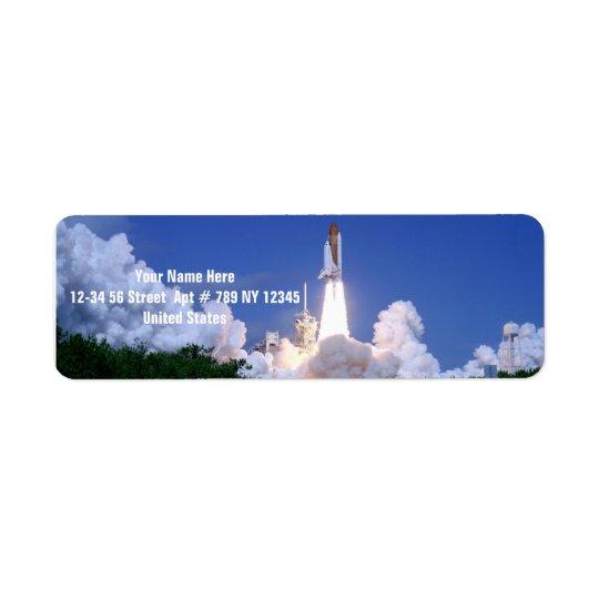 Launch of Space Shuttle Return Address Label