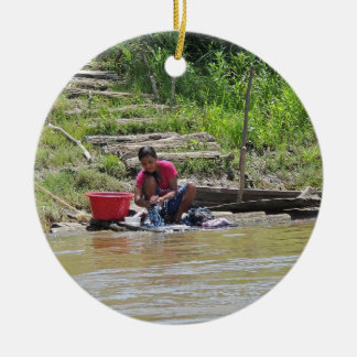 Laundry Day on the River Ceramic Ornament