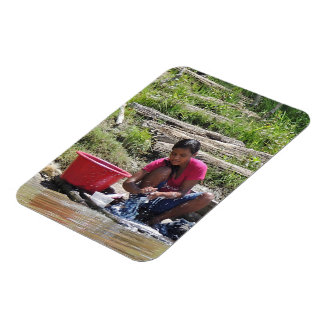 Laundry Day on the River Rectangular Photo Magnet