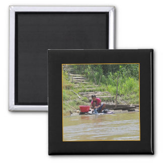 Laundry Day on the River w Faux Mat Square Magnet