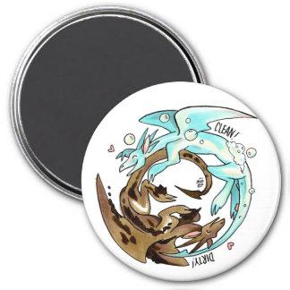 Laundry Dragons Dishwasher Magnet! 7.5 Cm Round Magnet