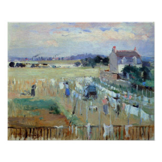 Laundry drying by Berthe Morisot Poster