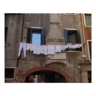 Laundry Drying in Venice, Italy Poster