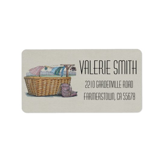 Laundry On Clothesline Address Label