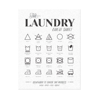 Laundry Room Cheat Sheet Canvas Print