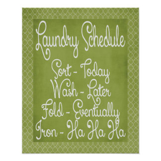 Laundry Schedule Poster