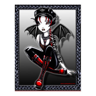 Laura Bat Winged Biker Fae Postcard