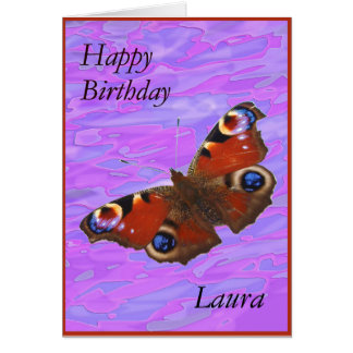 Laura Happy Birthday Peacock Butterfly card