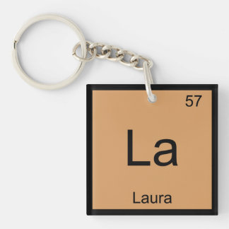 Laura  Name Chemistry Element Periodic Table Single-Sided Square Acrylic Key Ring
