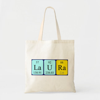 Laura periodic table name tote bag