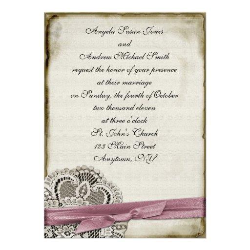 Laura Pink Vintage Lace Invitation