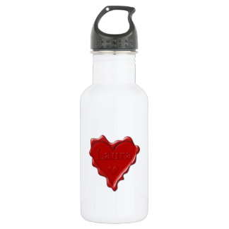 Laura. Red heart wax seal with name Laura 532 Ml Water Bottle