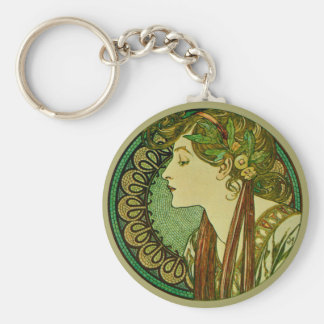 Laurel, Alphonse Mucha Vintage Art Nouveau Key Ring