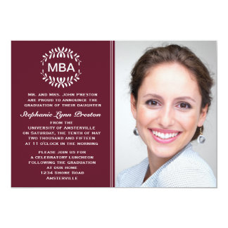 Laurel Branches Maroon Photo Graduation Invitation