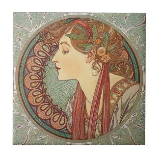 Laurel by artist Alphonse Mucha art nouveau Ceramic Tile