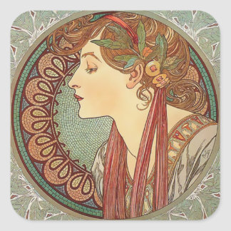 Laurel by artist Alphonse Mucha art nouveau Square Sticker