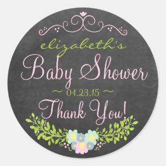 Laurel-Chalkboard Look Baby Shower Round Sticker