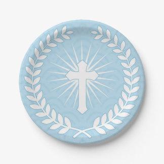 Laurel, Cross, Blue Religious Paper Plate