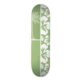 Laurel Green Hawaiian Tropical Hibiscus; Palm 21.3 Cm Mini Skateboard Deck