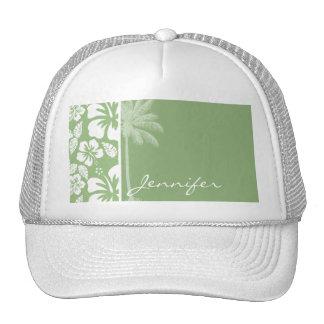 Laurel Green Hawaiian Tropical Hibiscus; Palm Trucker Hat