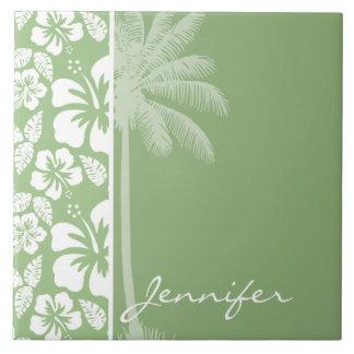 Laurel Green Hawaiian Tropical Hibiscus; Palm Tiles