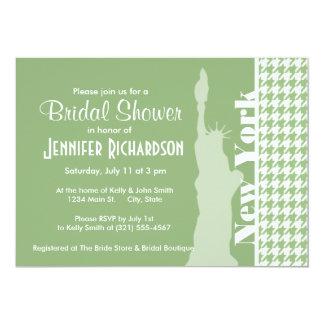 Laurel Green Houndstooth; New York City 13 Cm X 18 Cm Invitation Card
