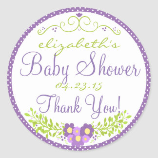 Laurel-Lavender Baby Shower Classic Round Sticker