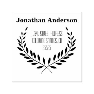 Laurel Leaf Address - Self-Inking Stamp