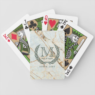 Laurel Leaf Classic Monogram Beautiful Marble Bicycle Playing Cards