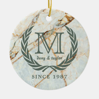 Laurel Leaf Classic Monogram Beautiful Marble Ceramic Ornament