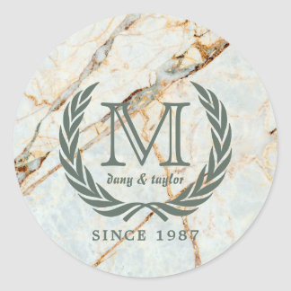 Laurel Leaf Classic Monogram Beautiful Marble Classic Round Sticker