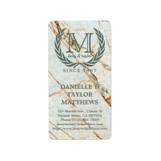 Laurel Leaf Classic Monogram Beautiful Marble Label