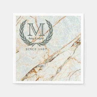Laurel Leaf Classic Monogram Beautiful Marble Paper Napkin