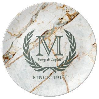 Laurel Leaf Classic Monogram Beautiful Marble Plate