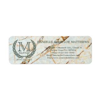 Laurel Leaf Classic Monogram Beautiful Marble Return Address Label