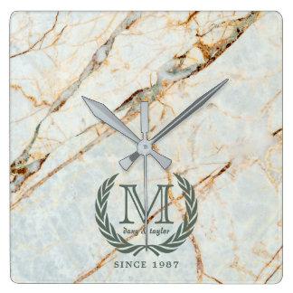Laurel Leaf Classic Monogram Beautiful Marble Square Wall Clock