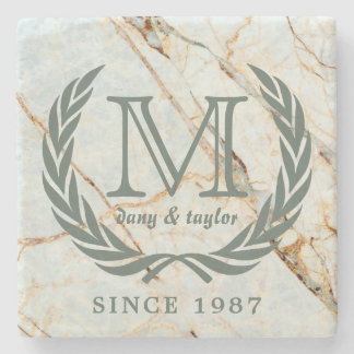Laurel Leaf Classic Monogram Beautiful Marble Stone Coaster