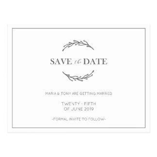 Laurel Leaf Classic Wedding Save the Date Postcard