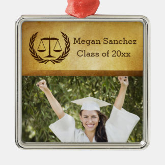 Laurel Leave Wreath | Scales of Justice Law School Metal Ornament