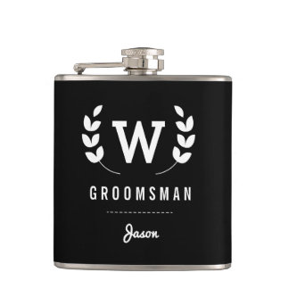 Laurel Monogram Groomsman Flask