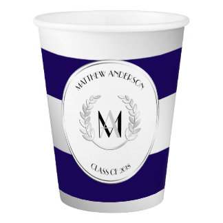 Laurel Monogrammed Silver and Blue Grad Party Paper Cup