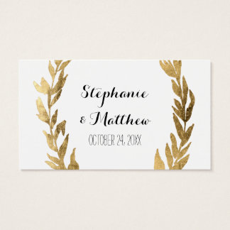 Laurel Olive Leaf Wreath Wedding Golden Gift Tags Business Card
