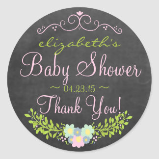Laurel on Chalkboard Look Pink and Green Classic Round Sticker