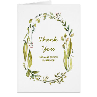 Laurel Woodland Watercolor Wedding Thank You Card