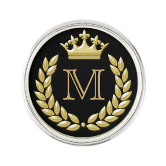 Laurel Wreath and Crown Lapel Pin