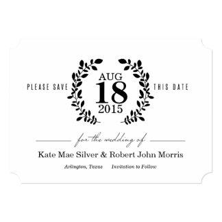 Laurel Wreath Black & White Nonphoto Save the Date 13 Cm X 18 Cm Invitation Card