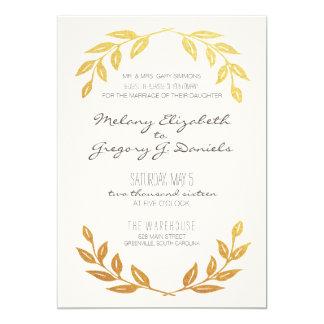 Laurel Wreath Gold Leaf Wedding Invitation