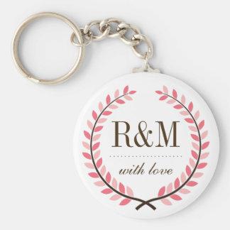 Laurel Wreath Monogram Wedding Keychain Pink White