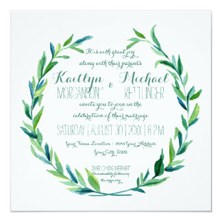 Laurel Wreath Olive Leaf Branch Modern Square 13 Cm X 13 Cm Square Invitation Card